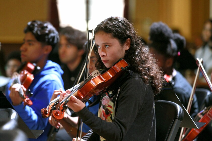 OAKLAND, CA., OCTOBER 30, 2016--Youth Orchestra LA (YOLA) going on tour to commemorate their 10th an