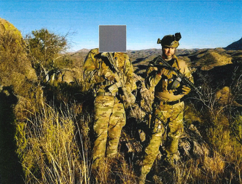 Joshua Pratchard, of San Diego, is seen here on patrol with Arizona Border Recon.