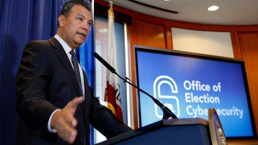 California Secretary of State Alex Padilla on Tuesday takes questions about the voter registration of ineligible people by the Department of Motor Vehicles.