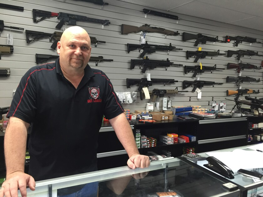Terry McGuire, owner of Get Loaded, a gun shop in Grand Terrace, five miles south of the Inland Regional Center, where 14 people were slain Wednesday, says he expects sales to go up in the wake of the attack.
