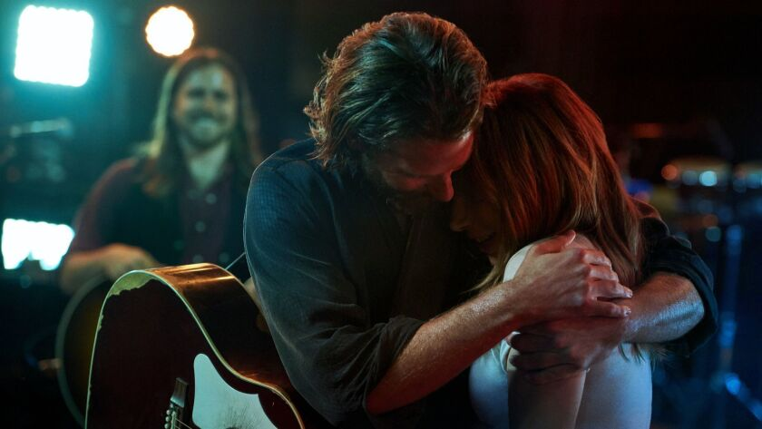"(L-R) - Bradly Cooper and Lady Gaga in a scene from ""A Star is Born."" Credit: PETER LINDBERGH/Warner"