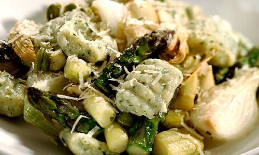 Spring vegetable stew with herbed ricotta gnocci
