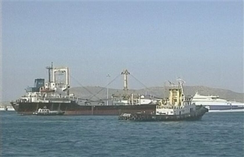 In this image shot from undated video footage released Wednesday, July 14, 2010 by Channel 2 via APTN, the Libyan ship, Amalthea is seen at sea in an unknown country. A Libyan boat carrying supplies for Gaza was sailing toward Egypt late Tuesday instead of trying to run a naval blockade of the Pale