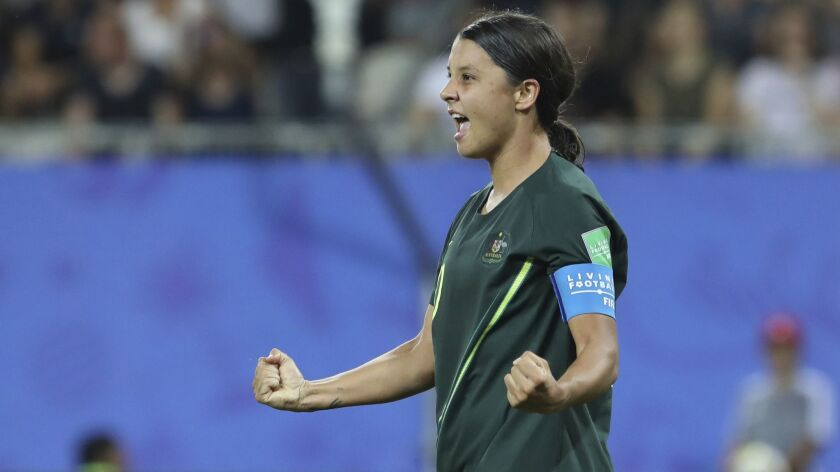 Australia's Sam Kerr celebrates after scoring her side's fourth goal during the Women's World Cup Gr