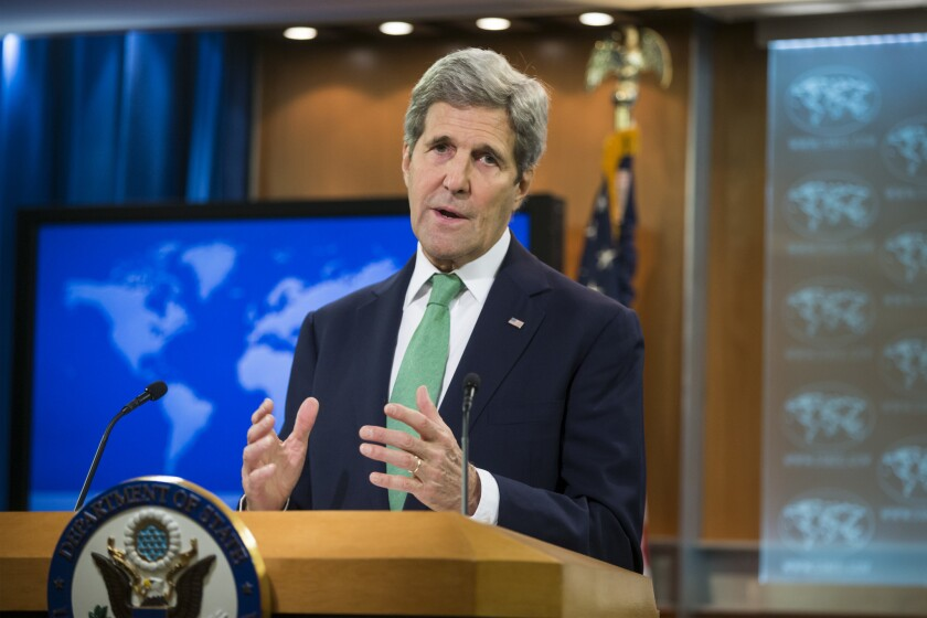 Secretary of State John F. Kerry speaks at the State Department in Washington.