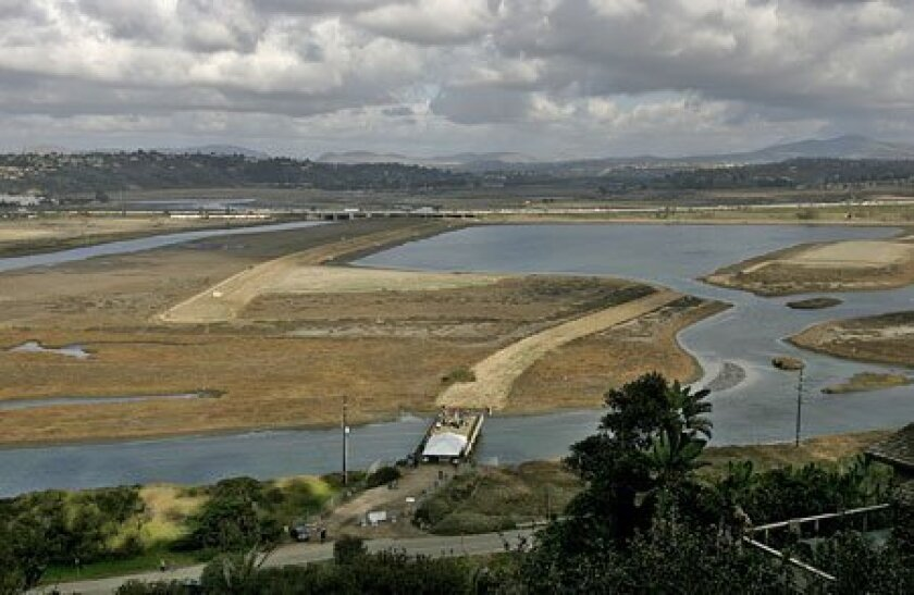 The Grand Avenue Bridge, in the foreground of the view from Balboa Avenue in Del Mar, will be a viewing platform for the San Dieguito Wetlands. (Nancee E. Lewis / Union-Tribune)