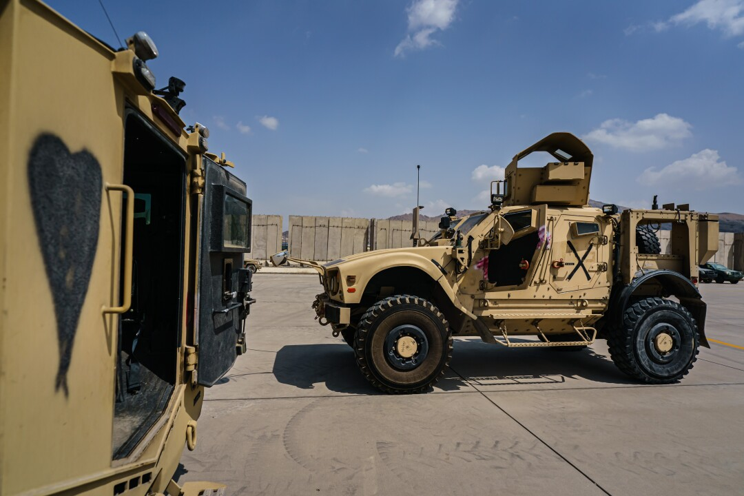 Armored vehicles at the airport