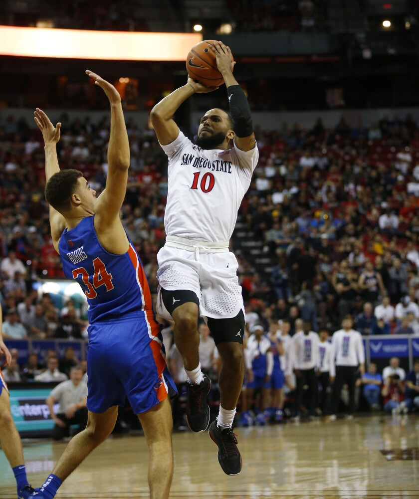 San Diego State trailed Boise State by 16 before roaring back to beat Boise State 81-68 on Friday at the Mountain West tournament.