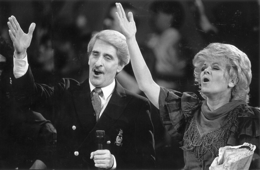 "Paul and Jan Crouch during the taping of one of their ""Praise the Lord"" shows taped in Selma, Calif., at the Cathedral of Light Church."