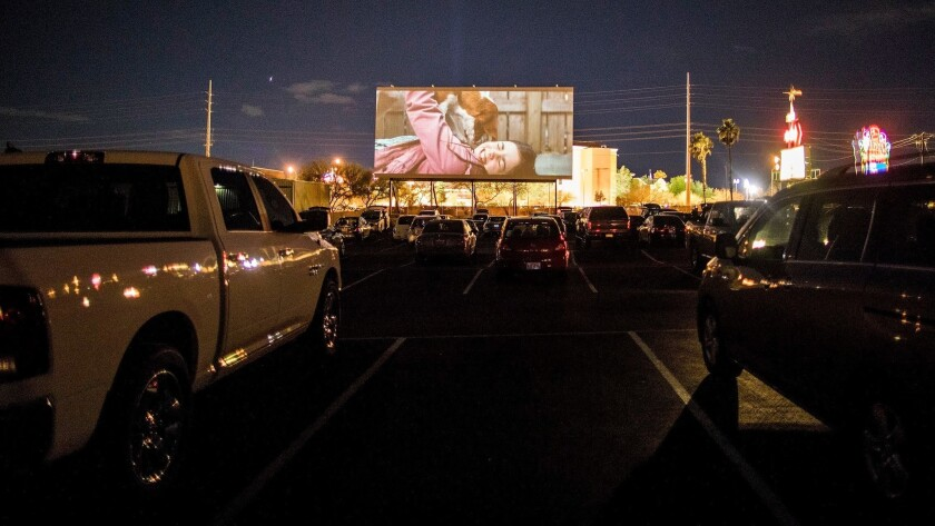 Guests of the West Wind Las Vegas Drive-In enjoy a Saturday night at the movies on Saturday, Feb. 16