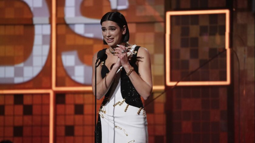 LOS ANGELES, CA - February 10, 2019 Dua Lipa won Best New Artist at the 61st GRAMMY Awards at STAPLE
