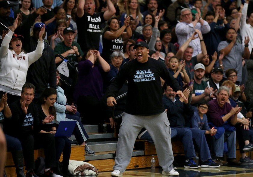LaVar Ball cheers his sons during a game between Chino Hills and Immanuel High on March 12, 2016. Ball's three sons all played for Chino Hills last year. Lonzo is now at UCLA while LiAngelo and LaMelo are both committed to be Bruins.
