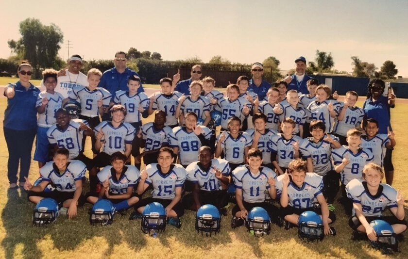 This year's La Jolla Torreys, in the La Jolla Pop Warner Junior Pee Wee Division, made history by becoming the first La Jolla Pop Warner team in any division to advance into a regional playoff game and win.