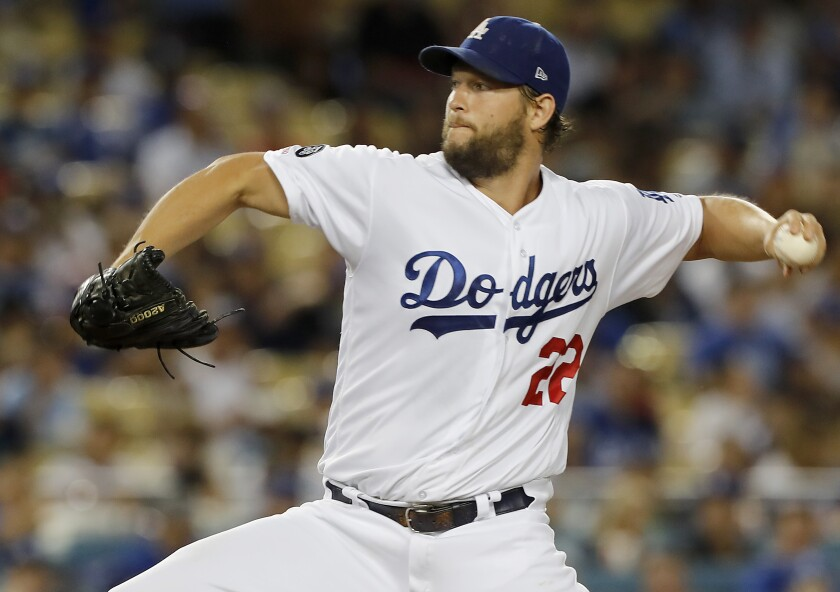Dodgers starter Clayton Kershaw delivers a pitch during a 16-3 victory over the Toronto Blue Jays on Tuesday.