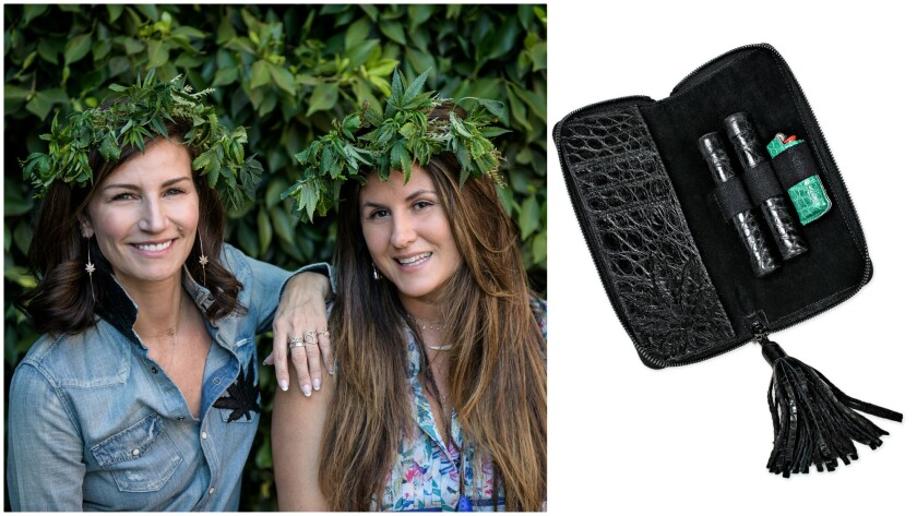 Spark the Conversation founder Bianca Green, left, with designer Jacquie Aiche at the Oct. 19 event. At right, a croc clutch from the new collection ($7,000, blunt cases and lighter sold separately).