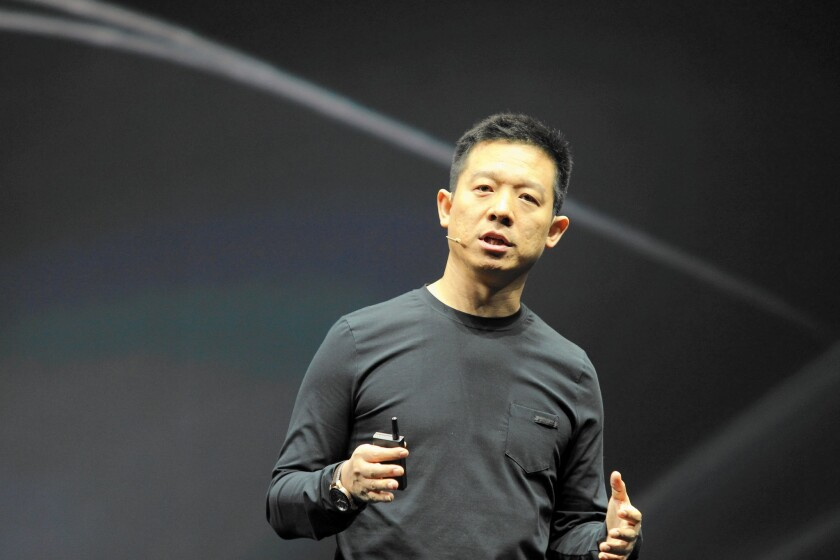 Chinese tech billionaire Jia Yueting, above in April, revealed last year that his streaming video company, Letv, was working on an electric car.