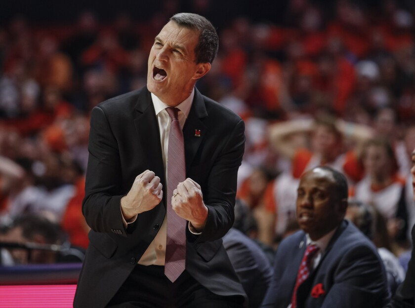 Maryland coach Mark Turgeon reacts during the second half of his team's 75-66 win at Illinois on Feb. 7, 2020.