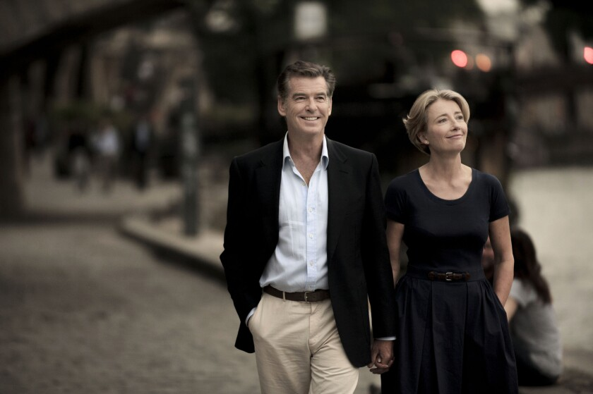 "Pierce Brosnan and Emma Thompson in a scene of the movie ""The Love Punch."""