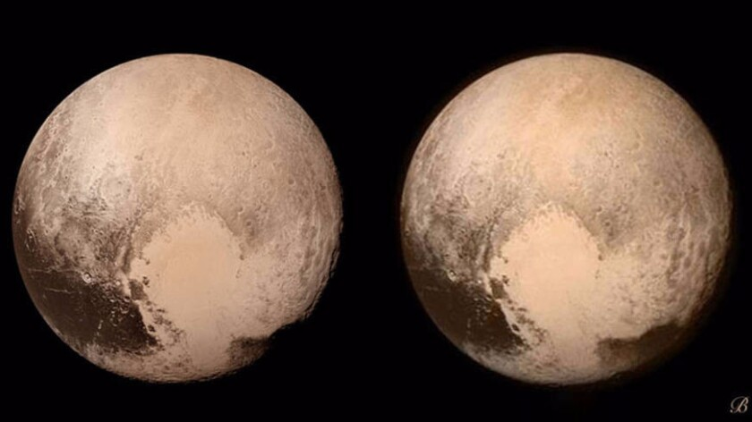 """This stereo image shows the giant """"heart"""" feature on Pluto. Scientists using data from NASA's New Horizons mission have found evidence of a subsurface ocean."""