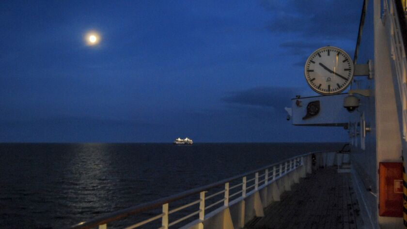 United Kingdom - Black Watch ship - Last evening. At cruise's end, the Black Watch steams through l'
