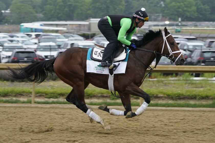 Overtook trains Thursday ahead of the 153rd running of the Belmont Stakes in Elmont, N.Y., on Saturday.