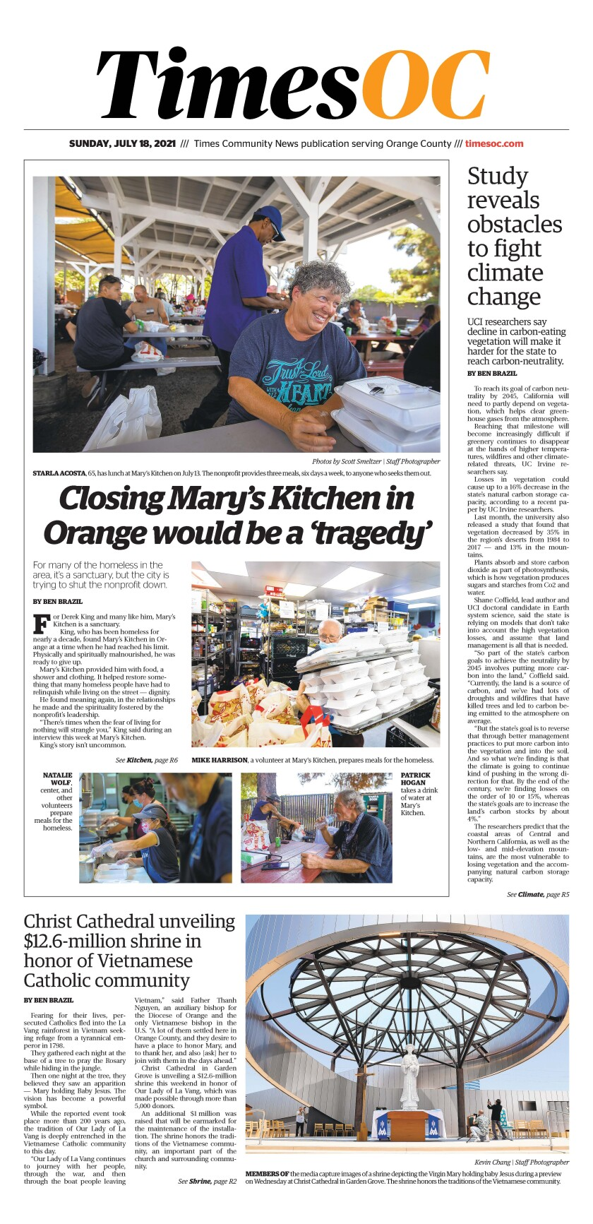 Front page of TimesOC e-newspaper for Sunday, July 18, 2021.