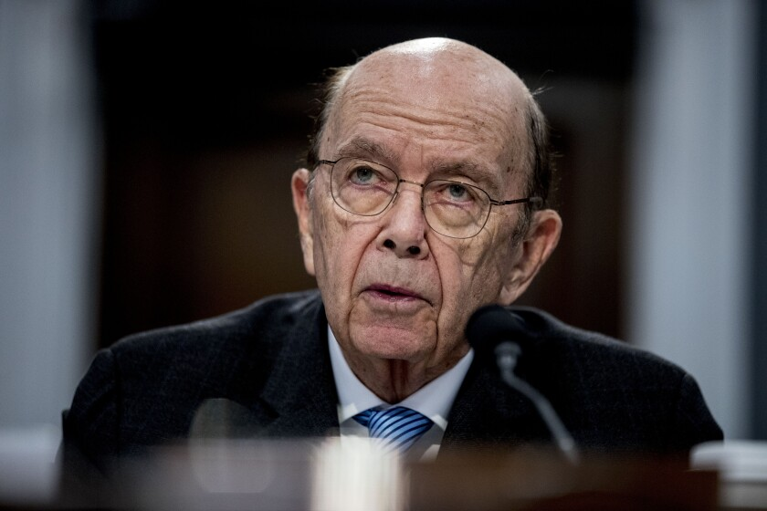 FILE - In this March 10, 2020, file photo, Commerce Secretary Wilbur Ross testifies before a House Appropriations subcommittee on Capitol Hill, in Washington. According to an investigation from the Office of Inspector General, during congressional testimony three years ago, the former U.S. Commerce Secretary gave a misleading reason for why he wanted a citizenship question on the 2020 census. An investigation by the watchdog agency showed that Ross misrepresented the reason for adding a citizenship question to the 2020 census questionnaire during two appearances before House committees in March 2018. (AP Photo/Andrew Harnik, File)