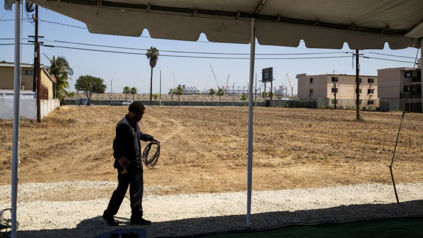 Site of the proposed Clippers arena in Inglewood.
