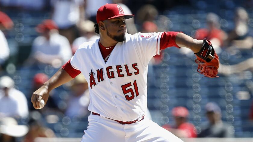 Angels starter Jaime Barria delivers during a game against the Seattle Mariners on Sept. 16. Barria saw two innings of work in Monday's exhibition win over the Milwaukee Brewers.