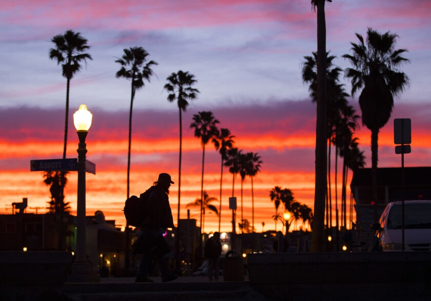 San Diego sunrise down Newport Avenue in Ocean Beach.