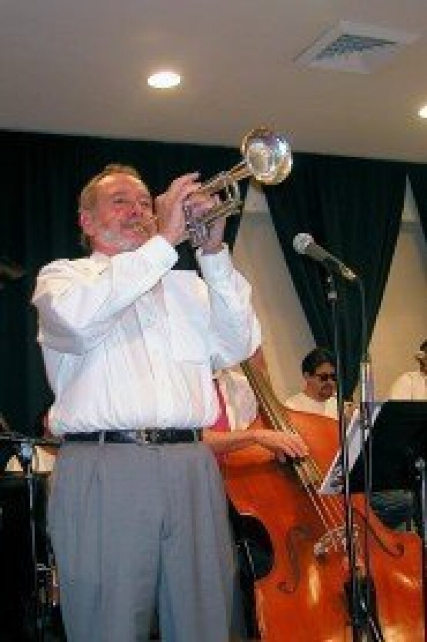 Dominick Addario performs with the 17-piece Rancho Santa Fe swing orchestra, led by Jack Wheaton, on Nov. 9 at the Village Church in Rancho Santa Fe.