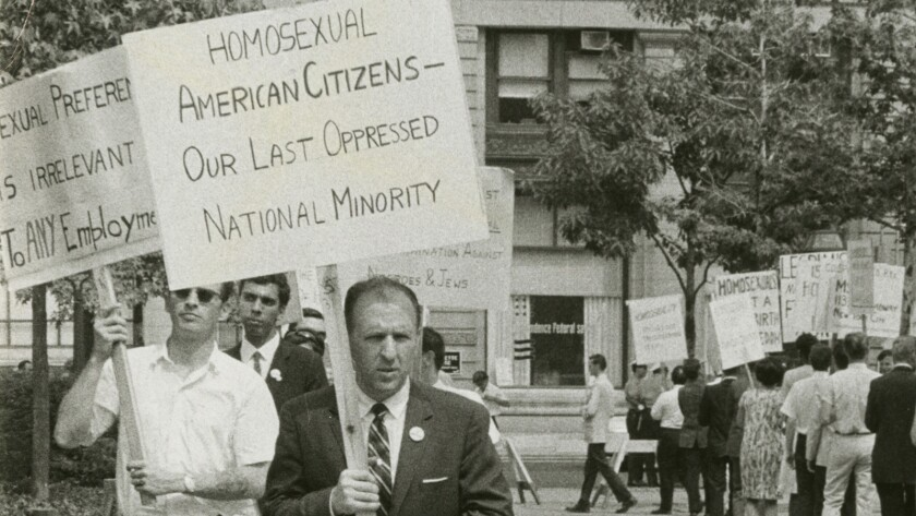 "Frank Kameny leading a picket line in front of Independence Hall in Philadelphia on July 4, 1965, from the documentary ""The Lavender Scare."""