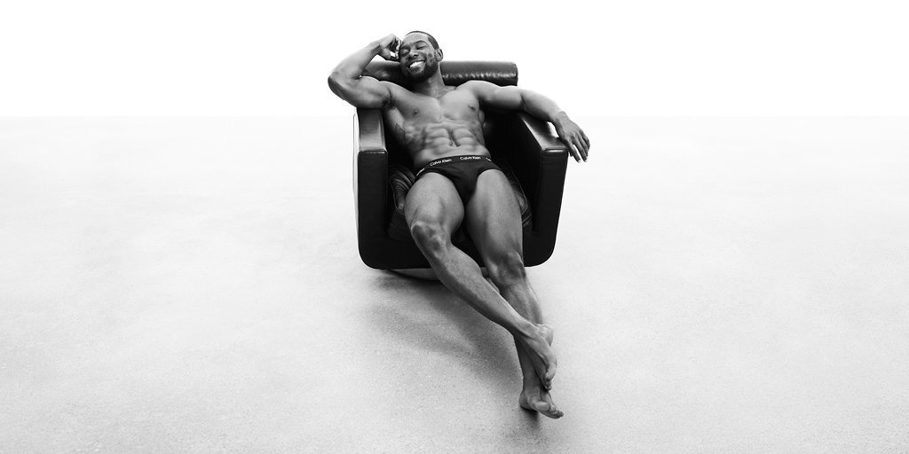 Calvin Klein's spring 2017 men's underwear campaign. Actor Trevante Rhodes wears the cotton stretch hip brief.