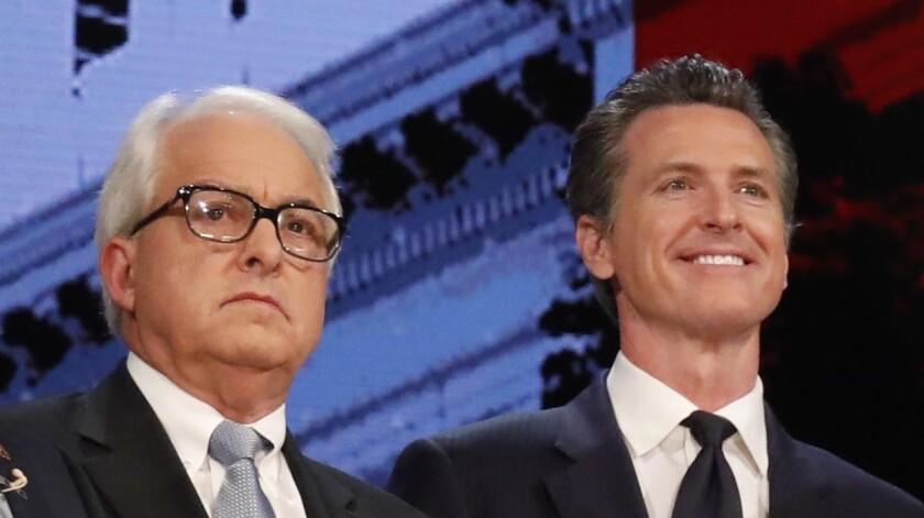 Republican John Cox and Democrat Gavin Newsom at a candidates forum in January.
