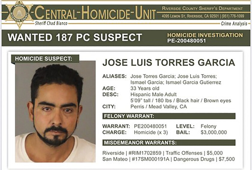 Jose Luis Torres Garcia, wanted in connection with killings at Riverside County cemetery