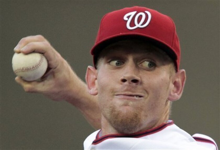 Washington Nationals starting pitcher Stephen Strasburg throws during the second inning of a baseball game against the Pittsburgh Pirates, in his debut in the majors, in Washington on Tuesday June 8, 2010. (AP Photo/Manuel Balce Ceneta)