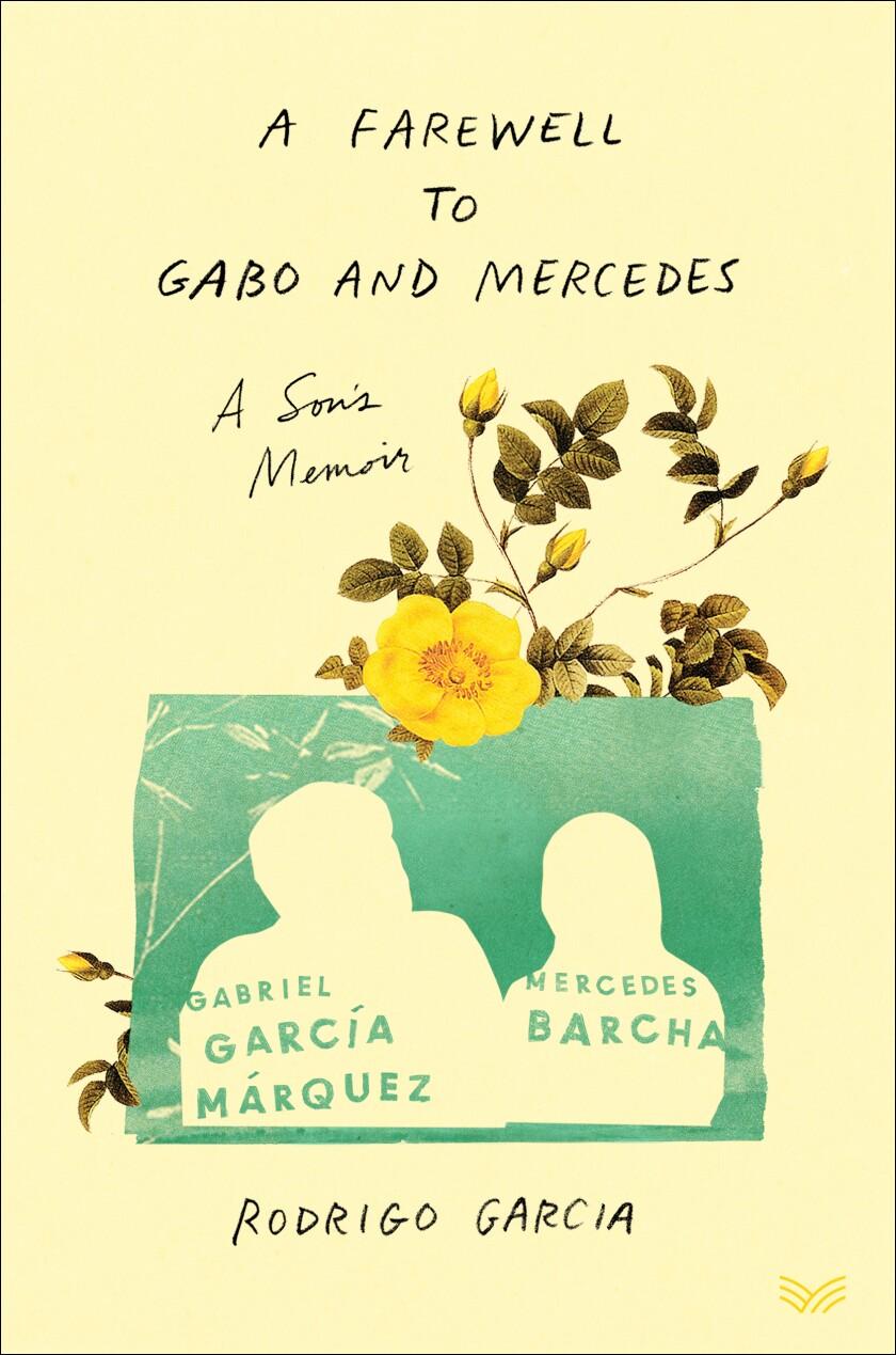La portada de un libro de color crema tiene flores amarillas y el contorno de un hombre y una mujer contra un rectángulo azul