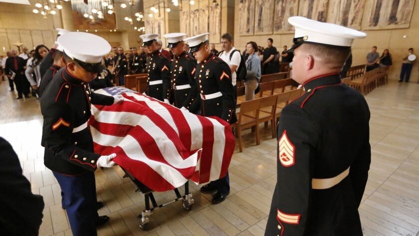 LOS ANGELES, CA - OCTOBER 05, 2016 - During a funeral service Wednesday morning at the Cathedral of