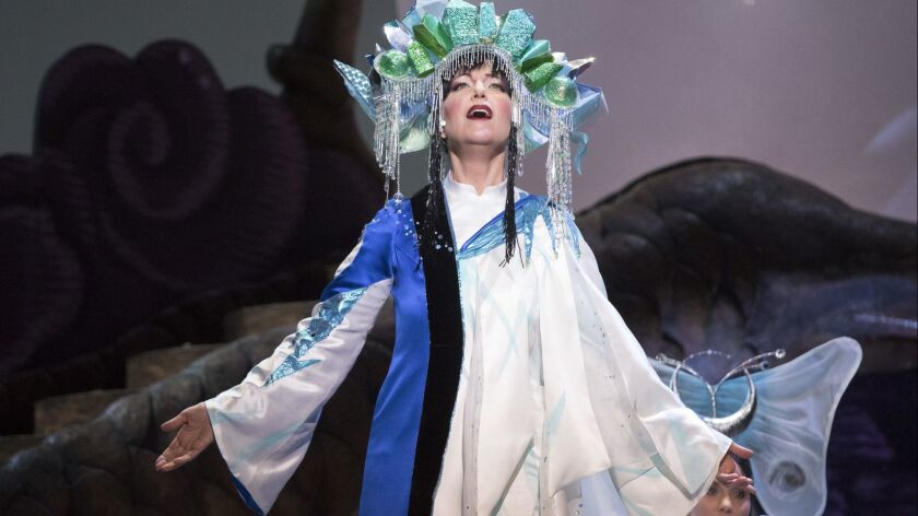 """Soprano Lise Lindstrom as Princess Turandot in a scene from San Diego Opera's production of """"Turandot"""" in February 2018."""