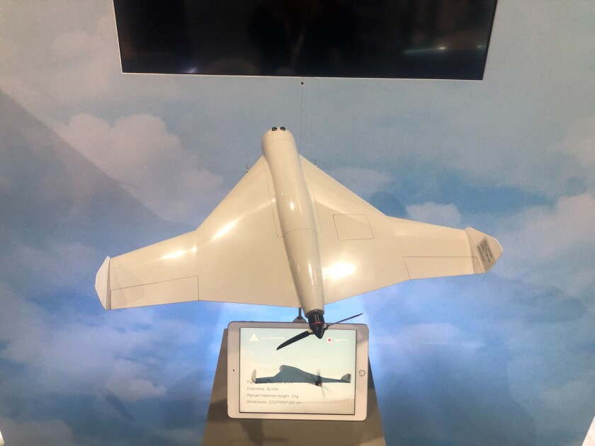 A model of the KUB-UAV, a new unmanned combat aerial system manufactured by the Kalashnikov Group and ZALA Aero Group, is on display at the International Defense Exhibition in Abu Dhabi, United Arab Emirates.