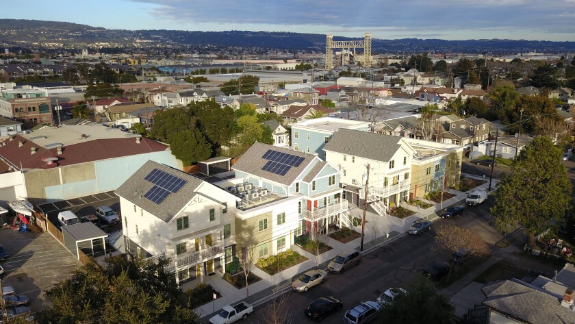 Aerial view of the Everett Commons subsidized housing in Alameda.