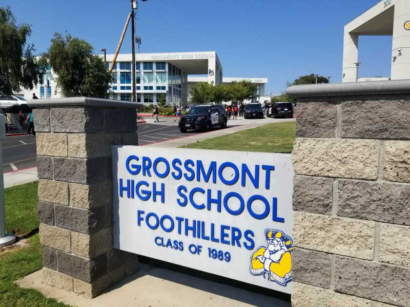 The sign for Grossmont High School is shown.