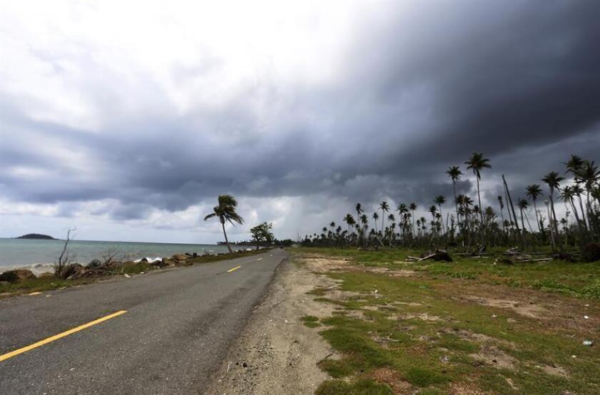 Fotografía del 18 de septiembre 2018, donde se muestra una carretera devastada por el paso del huracán María, en Humacao (Puerto Rico). EFE/Archivo