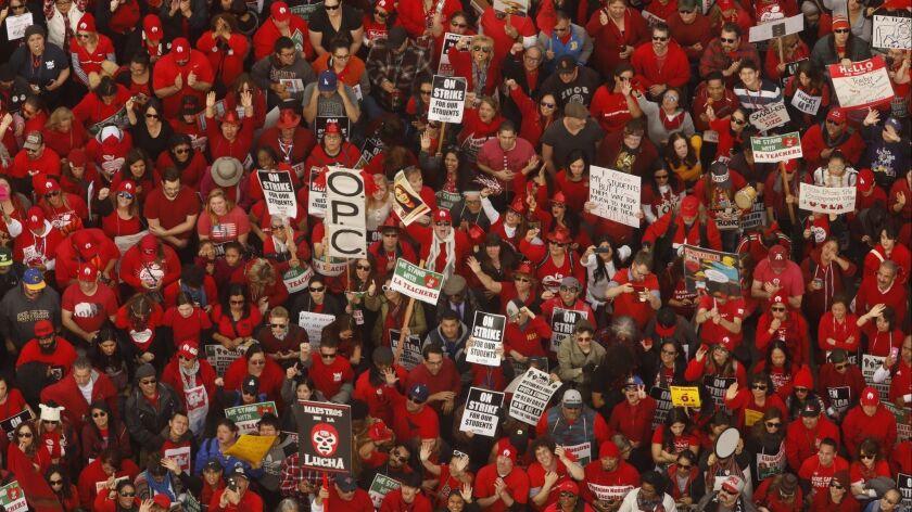 LOS ANGELES, CA - JANUARY 18, 2019 - - Educators with the United Teachers Los Angeles attend a mega