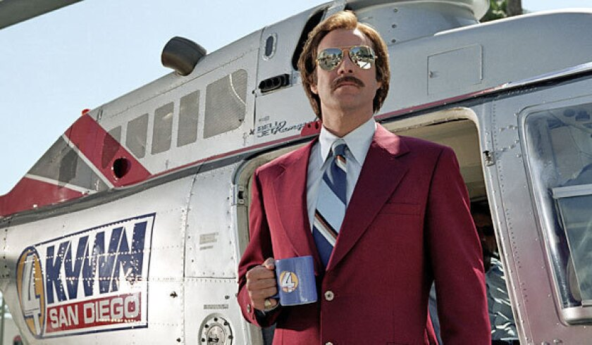 "Actor Will Ferrell is shown here as San Diego TV newscaster Ron Burgundy in the hit comedy movie, ""Anchorman."""