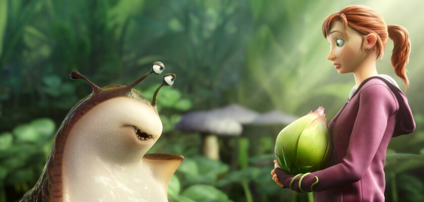 """Mub, voiced by Aziz Ansari, left, and MK, voiced by Amanda Seyfried, in a scene from the animated film, """"Epic."""""""