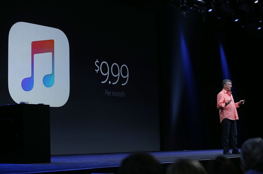 Apple's senior vice president of Internet Software and Services Eddy Cue speaks during the company's Apple Music announcement.