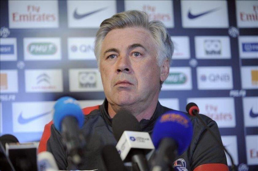 El entrenador del París Saint-Germain (PSG) Carlo Ancelotti. EFE/Archivo