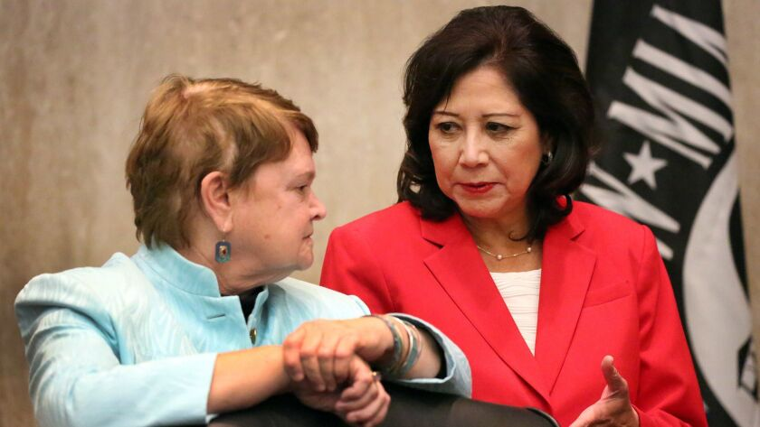 Los Angeles County Supervisor Hilda Solis, right, with Supervisor Sheila Kuehl in 2015.