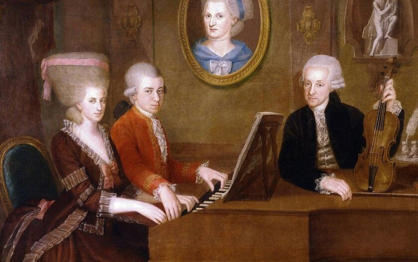 The Mozart family, circa 1780, in a painting by Johann Nepomuk della Croce. The portrait on the wall is of Mozart's mother.